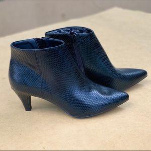 Women's Kitten Heel Black Bootie Memory Foam Shoe